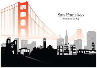 Vector illustration of skyline of San Francisco with fog