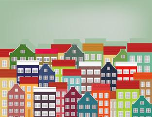 Drawing of a city landscape illustration.
