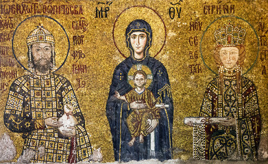 Icon of Virgin Mary and Saints in Interior of the Hagia Sophia i