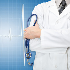 Medical doctor with electrocardiogram on background