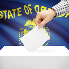 Ballot box with US state flag on background - Oregon