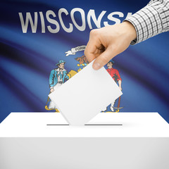 Ballot box with US state flag on background - Wisconsin