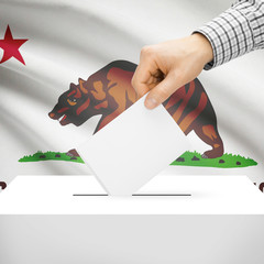 Ballot box with US state flag on background - California