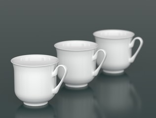 Three white porcelain cups in row with DOF