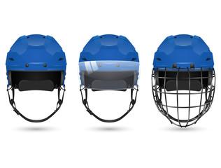 Blue hockey helmet in three varieties
