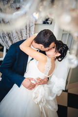 Wedding dance of charming bride and groom on their wedding