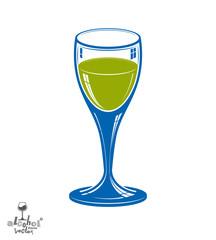 Realistic 3d wineglass, beverage theme illustration. Decorative
