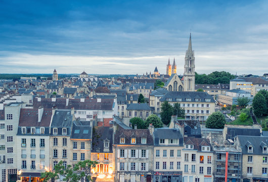 Caen aerial cityscape, Normandy - France