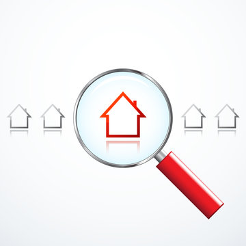 Magnifying Glass and Houses. Property Search
