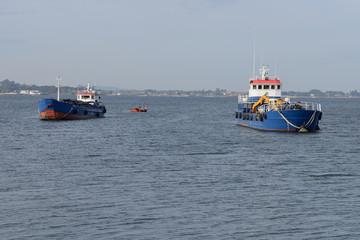 Old trawler anchored