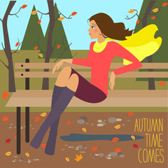Bright illustration with young beautiful girl sitting on bench