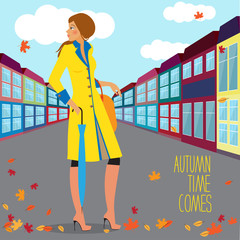 Bright illustration with autumn fashionable girl standing at the