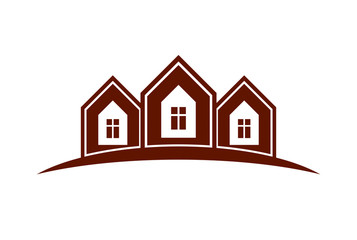 Abstract houses with horizon line. Can be used in advertising an