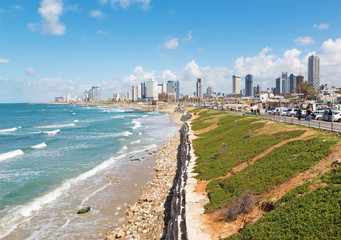 The coast and waterfront of Tel Aviv