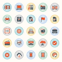Black red modern icons on color buttons. Flat design.