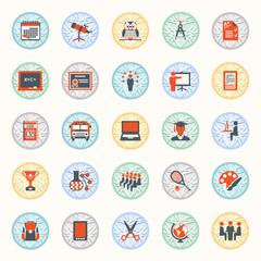 Education icons. Flat design.