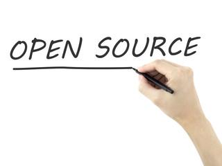 open source words written by man's hand