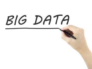 big data words written by man's hand