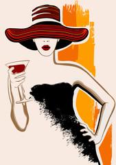 Canvas Prints Art Studio Pretty woman with large hat having cocktail