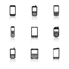 Mobile phone icons with reflection