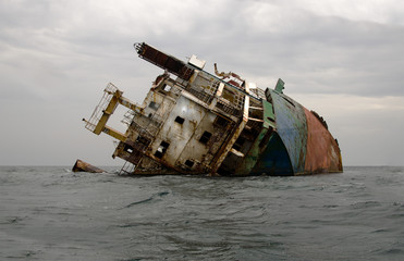 Photo sur Toile Naufrage Shipwreck, rusty ship wreck