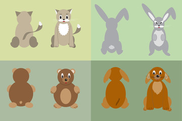 Cat, dog, rabbit and bear
