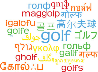 Golf multilanguage wordcloud background concept