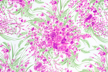 Flower Fabric background, Fragment of colorful retro tapestry te
