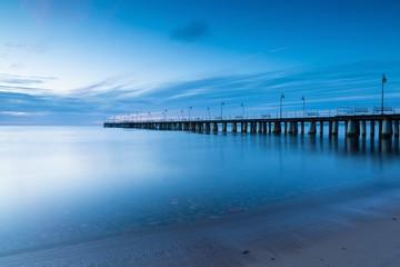 Beautiful pier in Gdynia, poland. Long exposure photo.