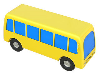 Abstract cartoon toy bus isolated on white background.
