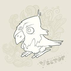 Illustration hand drawn vector retro cartoon bird with abstract