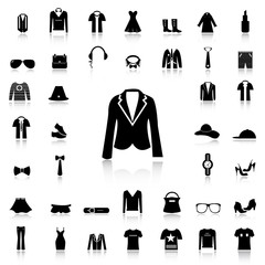 Set of Fashion black icons and silhouettes