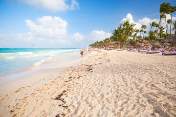 Empty sandy beach landscape. Dominican republic