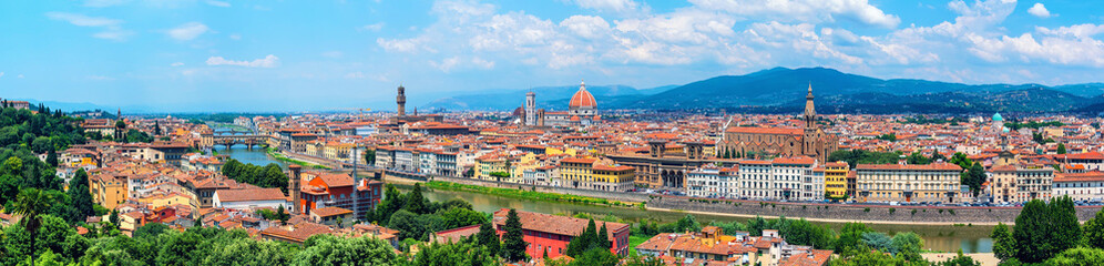 Aluminium Prints Florence Aerial panoramic view of Florence, Italy