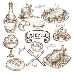 hand drawing food