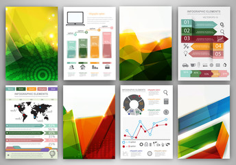 Infographic icons and abstract backgrounds