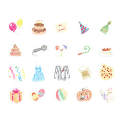 Set of hand drawn Party icon