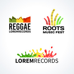 Set of reggae music equalizer logo emblem vector elements