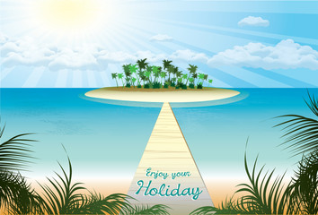 bridge which conducts on beach paradise . vector