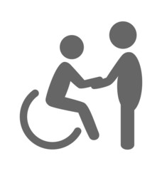 Disability man with helpmate pictogram flat icon isolated on whi