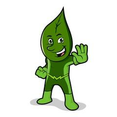 Green superhero stopping pose