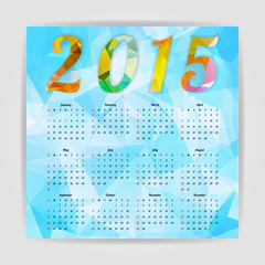 Abstract Colorful Triangular Polygonal 2015 year calendar