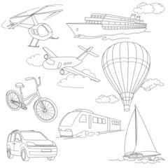 Travel set car air-balloons ships bike helicopter airplane train