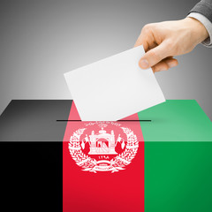 Ballot box painted into national flag - Afghanistan