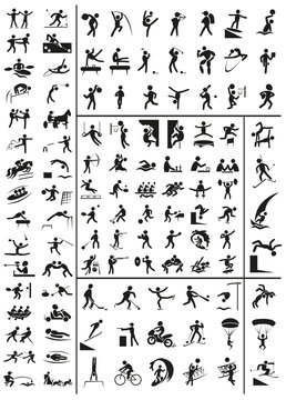 variety of sports icons on a white