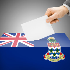 Ballot box painted into national flag - Cayman Islands