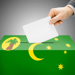Ballot box painted into national flag - Cocos (Keeling) Islands