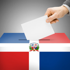 Ballot box painted into national flag - Dominican Republic