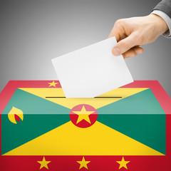 Ballot box painted into national flag - Grenada