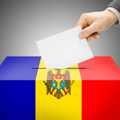 Ballot box painted into national flag - Moldova